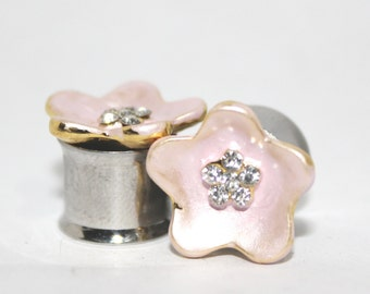 "Beautiful Light Pink Crystal Flower Plugs 0G 00G 7/16"" 0 00 Gauge 8mm 10mm 11mm"
