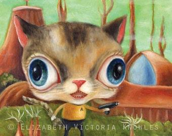 Cat Art Print, Star Trek Art, Captain Kirk, Big Eye Art, Dressed Animal Art, Retro Sci Fi Art, Pop Surrealism, Lowbrow Art, Matted Print