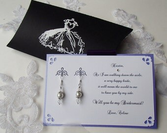 Will you be my Bridesmaid Card with Swarovski Pearl, Swarovski Crystal Earrings- Or Thank you- Pillow Box Card- Personalized