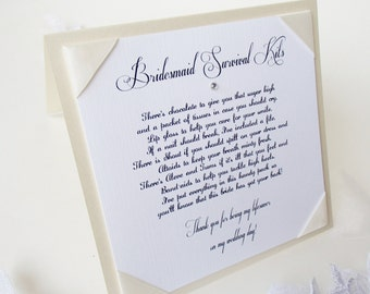Bridesmaid Survival Kit Tent Sign with Poem-Wedding signs- Vintage Garden collection- Champagne