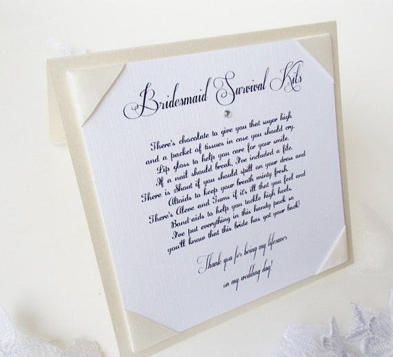 Bridesmaid Survival Kit Tent Sign With Poem Wedding Signs