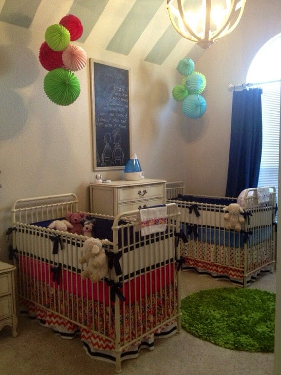 Items similar to Crib Set Bedding for Twins Bold Whimsy ...