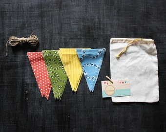 Spring Flowers and Polka Dots Pennant Banner