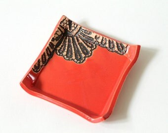 Handmade Moroccan Lace Square Dish for Change, Jewelry, of Candle Holder in Paprika