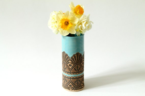 Made to Order: Handmade Moroccan Lace Vase in Turquoise, 8""