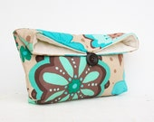 Mint and Aqua Floral Clutch Purse, Teal, Tan, Blue Clutch, Bridesmaid Gift, Bridesmaid Clutch, Makeup Bag, Cosmetic Bag