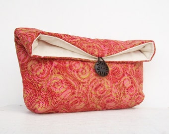 Red Gold Pink Swirl Clutch Purse, Bridesmaid Gift, Bridesmaid Clutch, Makeup Bag, Gift Under 25, Cosmetic Bag, Womens Clutch Purse