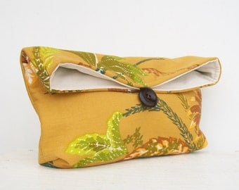 Makeup Bag Cosmetic, Green Blue Leaves on Mustard Clutch Purse, Bridesmaid Gift, Bridesmaid Clutch