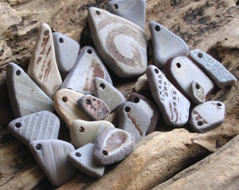 22 Beach Pottery Stoneware Pendants Charms Connectors Drilled 2mm holes Supplies (1532)