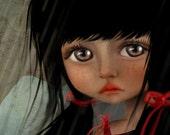 5x7 Art Print - 'The Storm' - Premium Giclee Fine Art Print Small Sized - Girl and black kittens in Rainstorm