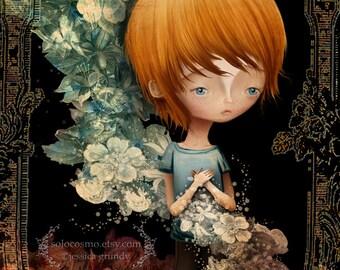 "Fine Art Print - ""Flynn"" - Large 11x17 or 13x19 Giclee  - Jessica von Braun Artwork - Little Ginger Boy and Flowers"