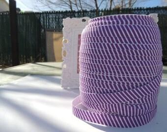"5 Yards of 5/8"" Printed Fold Over Elastics FOE - Purple and White"