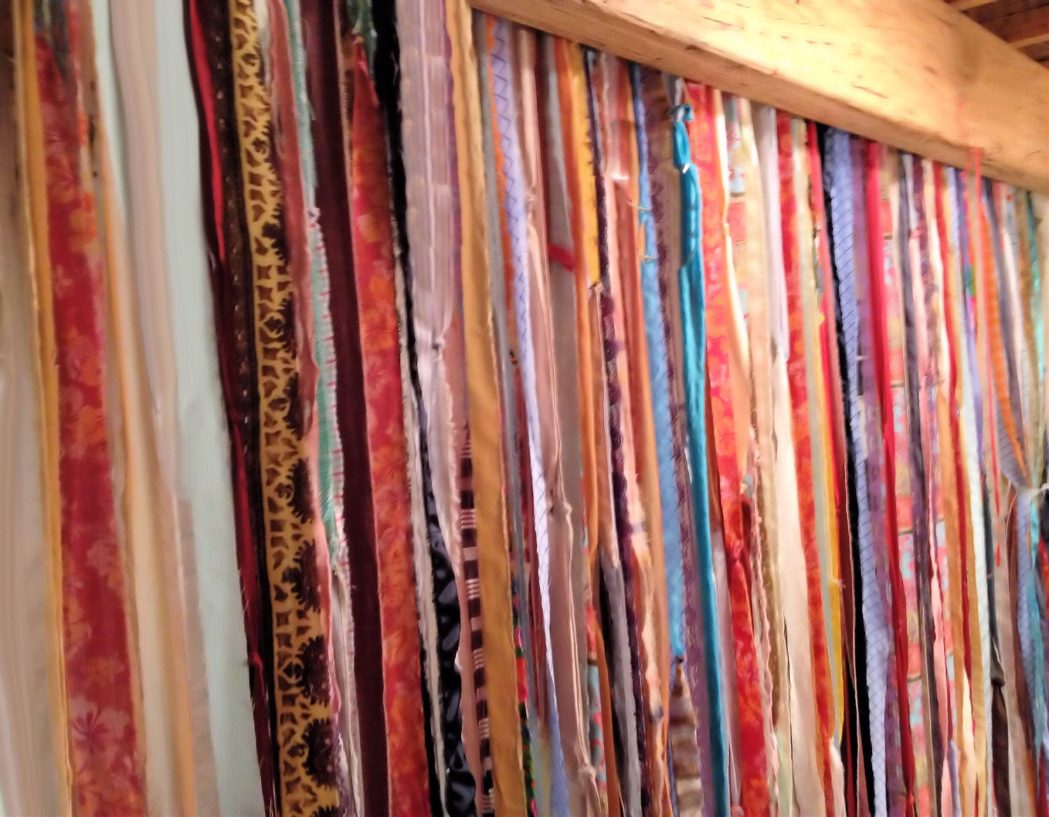 Fabric garland curtain 7 ft x 4 ft boho indie by dorothysrubies