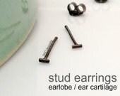 Men's stud earrings, submarine gray bar stud earrings for men, black gold plated studs, cartilage earring, helix stud earing, 3mm 464B