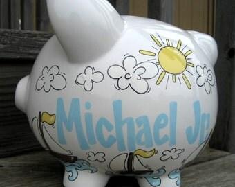Sailboats Personalized Piggy Bank-Large