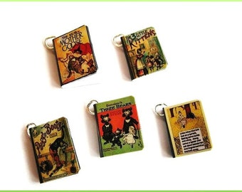 Old Style Nursery Rhymes Miniature Book Charms -  Set of 5