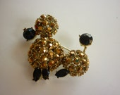 50s 60s Rhinestone POODLE Pin / Brooch in gold and black