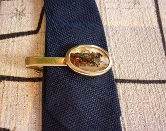 Vintage Tie Clip w Horses reverse painted intaglio cameo EQUESTRIAN