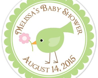 Baby Birds Baby Shower Labels, Green Baby Bird Custom Baby Shower Stickers - Personalized for YOU