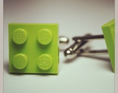 Made from Lego Lime Green Tile Cufflinks