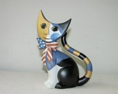 Goebel Porcelain Figurine - Collectable Cat by Rosina Wachtmeister - Patriotic Cat - Stars and Stripes