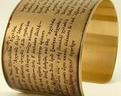 Homer's The Iliad - Trojan War - Achilles - Ancient Greek Poetry - Literary Brass Cuff Bracelet