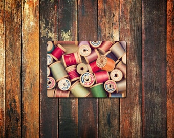 vintage spools photo magnet / refrigerator magnet, thread, sewing notions, rainbow, colorful, kitchen decor, fine art photograph
