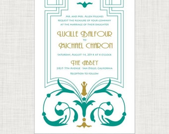 Art Deco Art Nouveau Wedding Invitation - Printable Digital