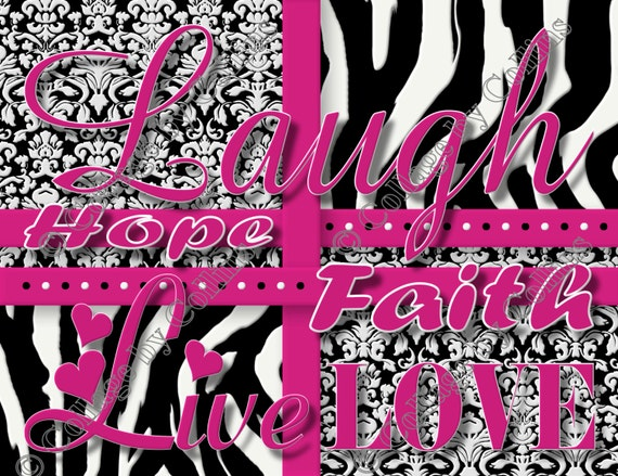 PINK Zebra Print Girls Room Decor Wall Art by collagebycollins