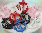 Anchor Charms - 45mm Mixed Colors Anchor Resin or Acrylic Charms - 5 pc set