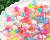 Heart Beads - 8mm Tiny AB Iridescent Pastel Hearts Resin or Acrylic Beads, mixed color, small size beads - 200 pc set