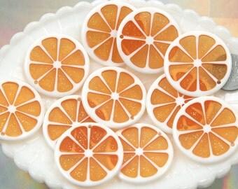 Orange Charms - 35mm Colorful Citrus Fruit Resin Charms - Orange - 5 pc set