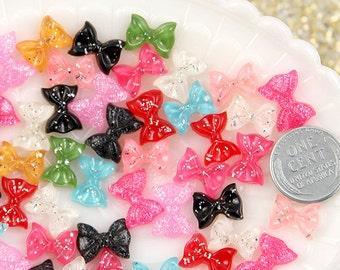 Tiny Bows Resin Cabochons - 10mm Mixed Colors Tiny Bow Glitter Resin Ribbon Cabochons - 15 pc set