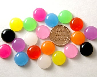 Candy Cabochons - 12mm Round Jellybean Colorful Drop Resin Cabochons - 20 pcs set