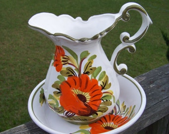 Pitcher and Bowl Basin set..Italian Pottery...Cottage Chic...Made in Italy...Mid Century...European Flair..My Vintage Home