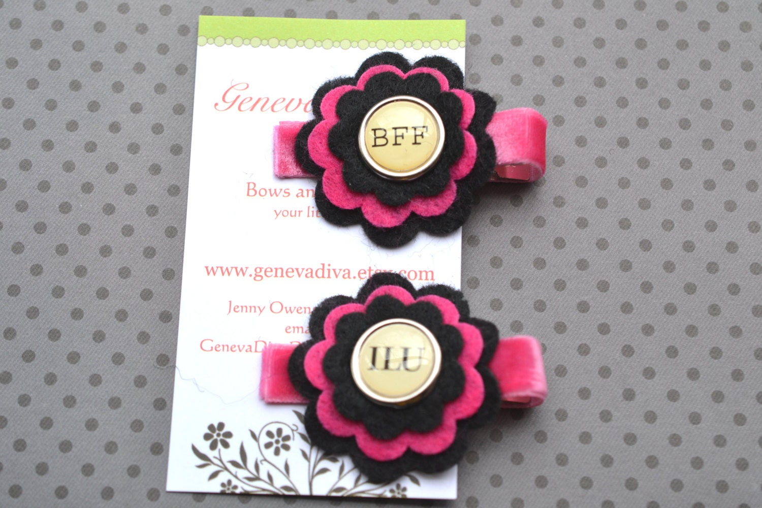 Text Me....Set of 2 Stacked Felt Flower Clips