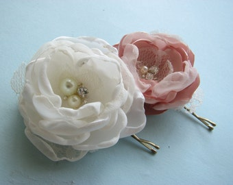Pink and ivory hair flowers, pair of bobby pins in pale dusty blush pink, bridal rhinestones and pearls