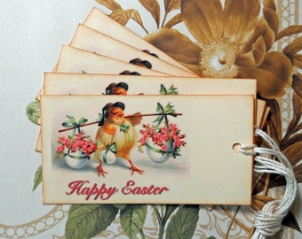 Tags Easter Chick Flowers Vintage Style Handmade TE001