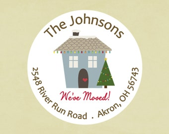 Return address labels, stickers, tags, envelope seals, round--Xmas We've Moved