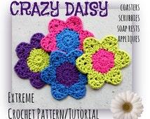 Crazy Daisy EXTREME Crochet PHOTO TUTORIAL - Coasters, Scrubbies, Soap Rests, Appliques