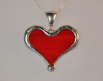 Scarlet red heart necklace