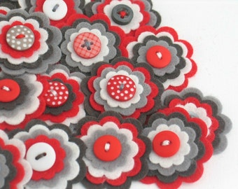 METRO - Handmade Felt Flower Embellishments, Flower Applique, Handmade Felt Flower, Felt Embellishment, Craft Supplies, Felt Bloom, Set of 3