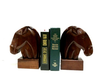 Horse Head Bookends Art Deco Style Vintage Mahogany Hand Carved Artisan Made