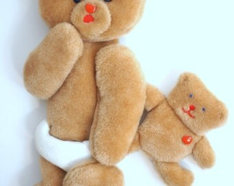 Adorable vtg wall hanging - baby plush bear in diapers with toy bear - nursery decor