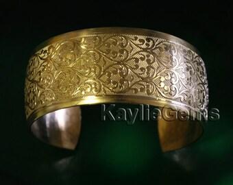 "Cuff Bracelet Victorian Baroque Design 1"" Wide Premium Quality USA 1 Pc"