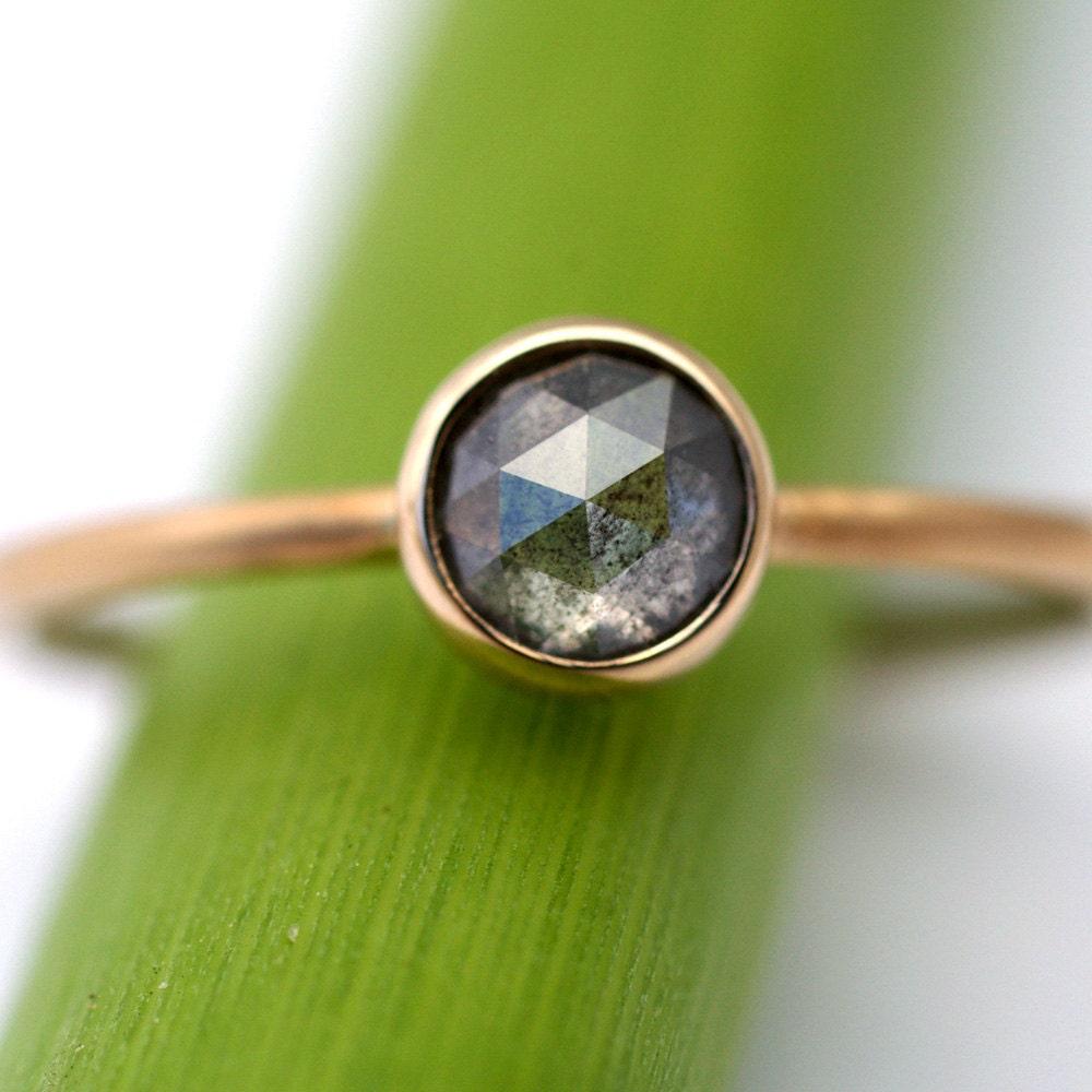 Light Grey Rose Cut Diamond Engagement Ring