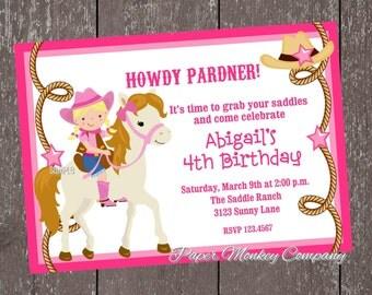 Blonde Cowgirl Birthday Invitations