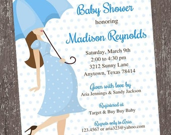 Baby Bump - Blue - Boy Theme - Baby Shower Invitation - 1.00 each with envelope