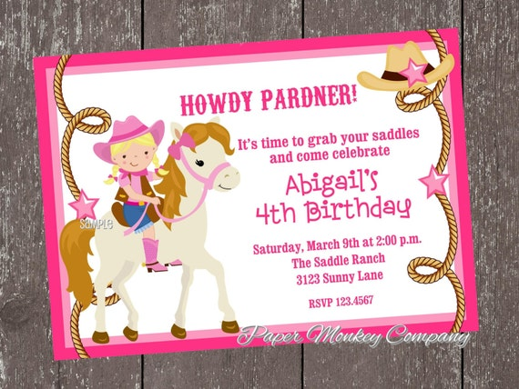 Blonde Cowgirl Birthday Invitations by Paper Monkey Company Catch