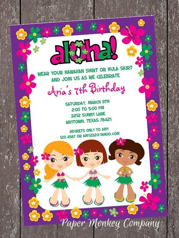 Luau Birthday Invitation - 1.00 each with envelope
